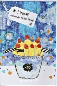 Hoera!! vandaag is het feest! - wenskaart met enveloppe | MCMS.nl