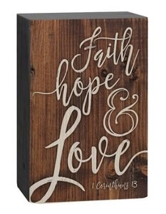 "Barnhouse block ""Faith Hope Love"" -1 Corinthiërs 13"